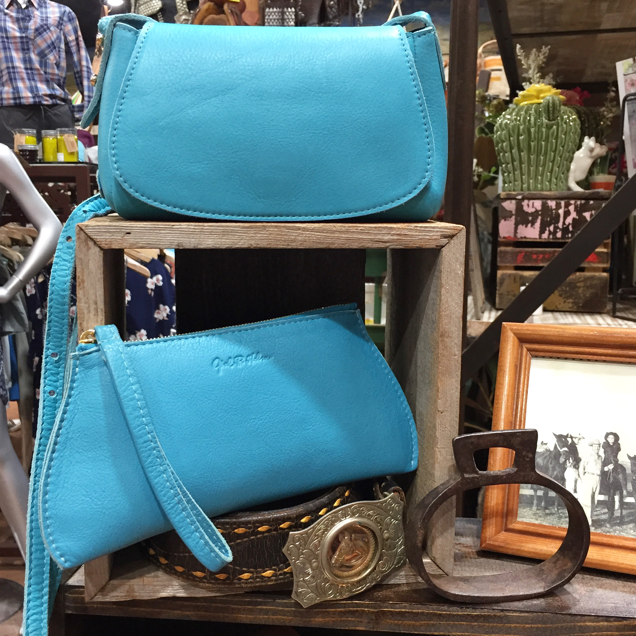 Texas Turquoise Leather Crossbody and Wristlet
